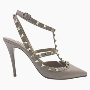 Valentino Pink Rockstud Stiletto Caged Pebbled